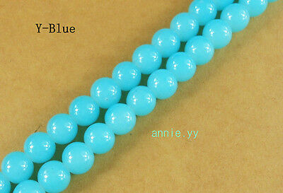 200Pcs 4mm Blue Solid Glass Pearl Round Spacer Loose Beads Free Ship