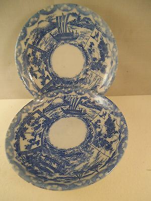 Vintage Pair of Chinese Blue Transfer Saucers Ships Boats Birds