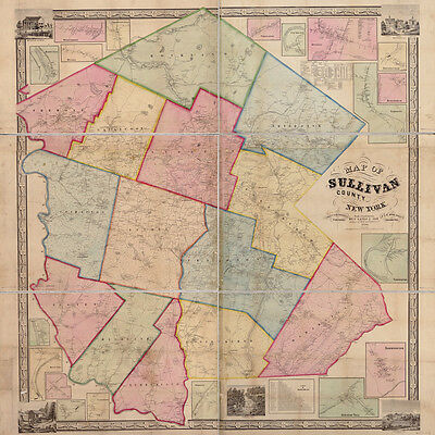 1856 Map of Sullivan County NY from actual surveys Monticello