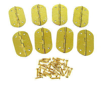 8pc. Small Oval Brass-plated Hinges - Great for smaller boxes & crafts