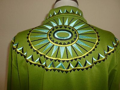 Bob Mackie Wearable Art Red Embroidered Zip Up Coat Jacket Green Light sz M