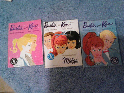VINTAGE Barbie and Ken  1962  and 1961 Lot of 3 Booklets Printed in JAPAN