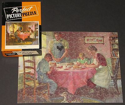 "VTG PERFECT PICTURE JIGSAW PUZZLE ""SAYING GRACE"" FAMILY HOME DINNER PRAYING  -1"