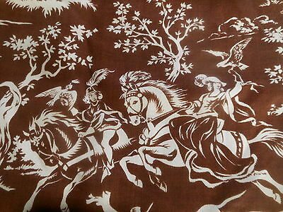 Vintage Retro French  Brown Knight Lady Horse Dogs Hunt Linen Toile Fabric