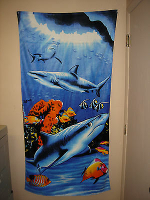 "Lot of 2 - Fiber Reactive Shark Velour HUGE 35""x70"" Beach Towel 100% Cotton"