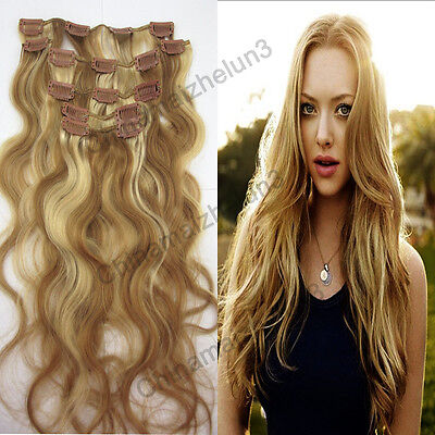 20inch 7Pcs 70g #12/613 Clip in Remy Human Hair Extensions Curly Wavy Hot&New