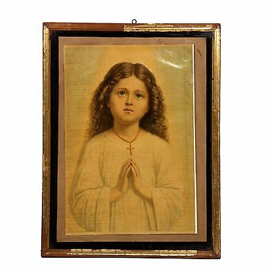 1910 ORIGINAL VINTAGE ANTIQUE OLD FINE PRINT EUROPEAN LADY WITH FRAME