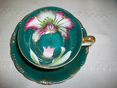 3 Footed VINTAGE TEAL FLORAL TEA CUP AND SAUCER