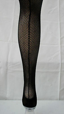 Plus Size Back Seam Seamed Fishnet Tights Retro Burlesque Black XXL made in UK