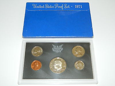 """1971 """"S"""" United States (U.S.) Clad Proof Set, GEM Coins with Packaging"""