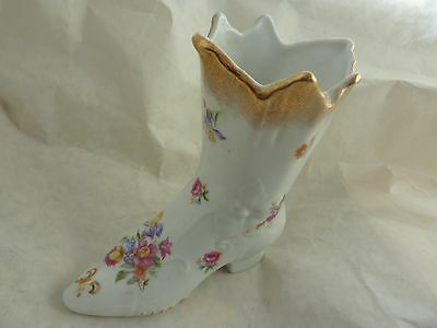 DRESDEN CROWN PM PORCELAIN 11.5CMHIGH SHOE/POSYHOLDER WITH PRINTED FLOWERS&GILT