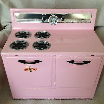 Vintage Little Chef Toy Stove Pink Metal 1950's