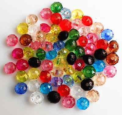200Pcs Mixed Color  Rondelle Bicone Acrylic Spacer Loose Beads  6 mm