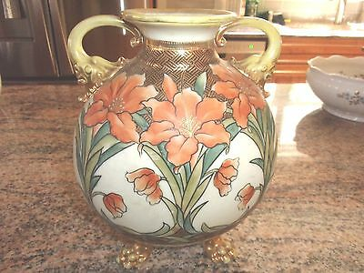 antique Nippon claw footed vase ( hand painted )