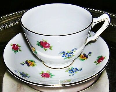 Antique Floral TEA CUP & Saucer  Roses Pansies  English Royal Victoria China