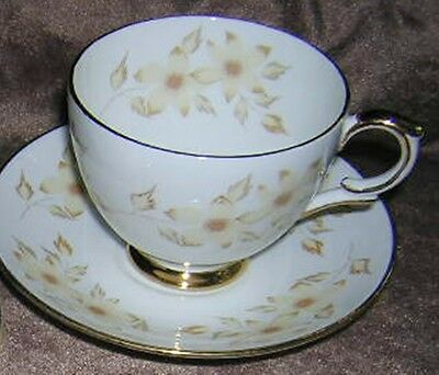 English TEA CUP & Saucer  floral yellow flowers  England  Royal Victoria china