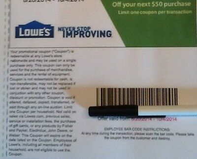 One Lowes $50 off $250 coupon codes exp 4/6/15 Online Purchase Only