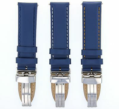 18-19-20-22-24Mm Genuine Leather Smooth Band Deploy Clasp For Breitling Blue #8