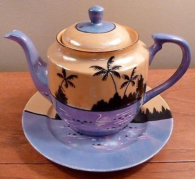Vintage Japan T&T peach and blue luster sunset scene teapot and under plate