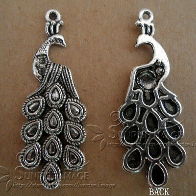 PJ127/10pcs Tibetan Silver Charms retro peacock Accessories Findings Wholesale
