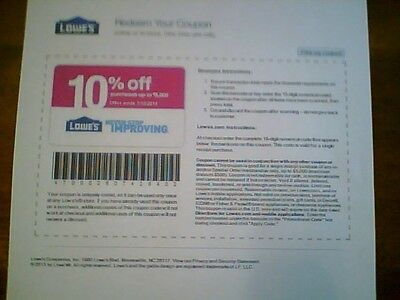 5 LOWES 10% coupon OFF  EXPIRES 04-30-15   (mnp)