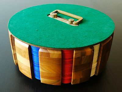 Wooden Vintage Poker Chip Caddy Carousel - Plastic Poker Chips Included
