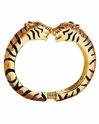 New $150 Kenneth Jay Lane Tiger Enamel Bracelet 22kt Gold Plated Orange GIFT!!