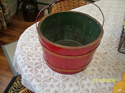 Vintage Americana Red Small Firkin Sugar Bucket Wire Handle VGC 9&1/2in.x 6in.