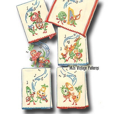 Vintage 50s Embroidery pattern ~ Veggies playing musical instruments cello, sax