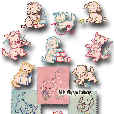 Vintage 50s Embroidery pattern ~ Kittens & Puppies,