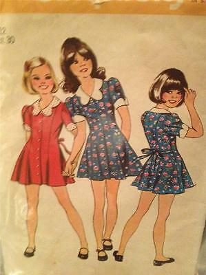 Simplicity Sewing Pattern 5876 Girls Child Short Dress Size 12 Cut Vintage