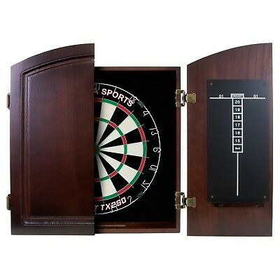 PRO BLADE Dart Board Set TIMBER Cherry Colour Cabinet Micro Band BLADE + Darts