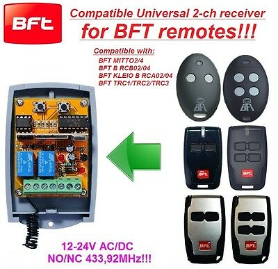BFT compatible universal 2-channel receiver 12-24 VAC/VDC rolling&fixed code