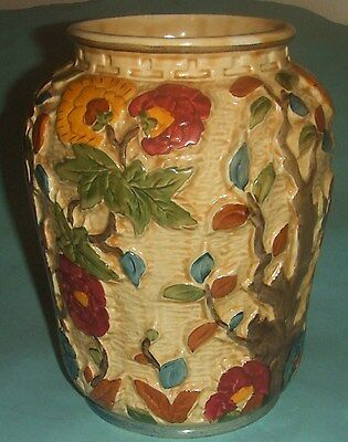 H.J. Wood Indian Tree Large Flower Vase. Height Of 8 5/8 Inches. .