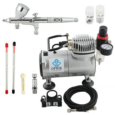 OPHIR Pro 3 Tips Dual Action Airbrush Gravity Paint Gun Kit with Compressor 220V