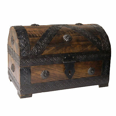 Pirate Chest/ Treasure Chest 24x15,5x16cm brown Wood Storage Box Antique Look