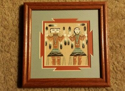 Navajo Native American Indian Sand Art Painting Yei Gods Signed A. Clark