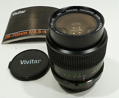 Vivitar 28-70mm f/3.5-4.8 Pentax PK-A Mount Wide Angle Zoom Lens