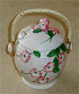 Maling Ware Lustre Pink and Cream Biscuit Barrel Perfect