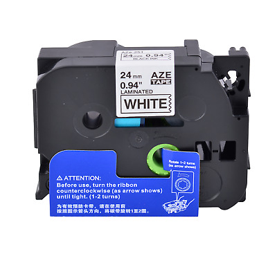 """1 PK Black on White Label Tape Compatible for Brother TZ Tze 251 1"""" 24mm P-touch"""