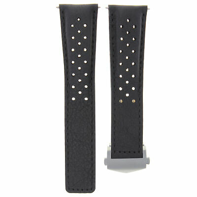 Leather Band Watch Strap Clasp 22Mm For Tag Heuer Carrera Calibre 5 16 17 Black