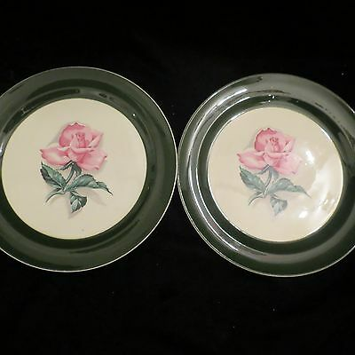2 Vintage Taylor Smith Taylor Green and White Salad Plates