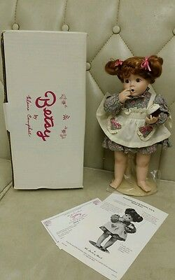 DANBURY MINT PORCELAIN DOLL BETSY BY ELAINE CAMPBELL GIRL WITH CUPCAKE