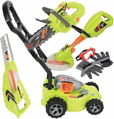 Kids Pretend Lawn Tool Set w/ Sounds & Action Leaf Blower Chainsaw Lawn Mower