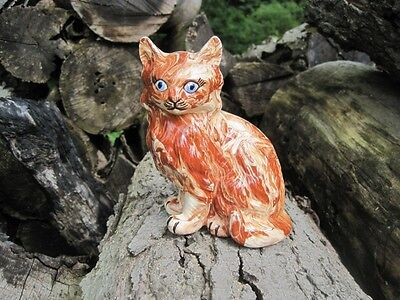 Awesome Vintage Swirled Rust & Cream Colored Ceramic Cat