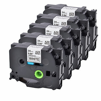 "5 PK Black on White Label Tape Compatible for Brother TZ Tze 251 1"" 24mm P-touch"