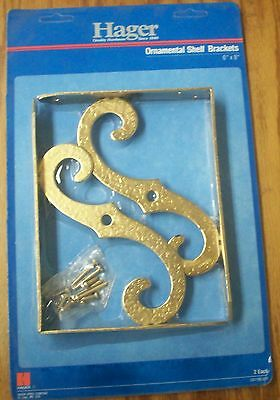 (2) Hager Vintage Ornamental Shelf, Flower, Plant, Mailbox Brackets Brass Finish