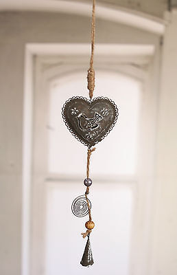 Rustic Hanging Tin Heart 40cms Grey Metal Hanging Ornament Home Decor