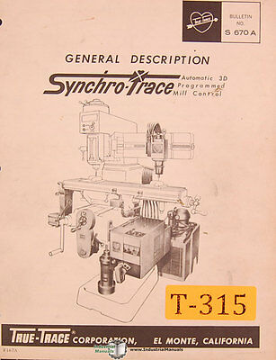 True Trace Synchro Trace, Mill Control Setup and Operations Manual