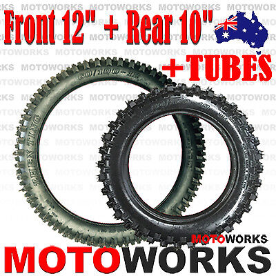 "60/100- 12"" Front 80/100 - 10"" inch Rear Knobby Tyre Tire Tube PIT PRO Dirt bike"